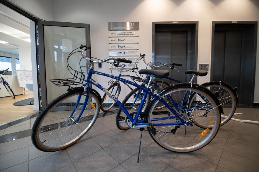 Free UMCH / UMFST bikes inside of UMCH building in Hamburg