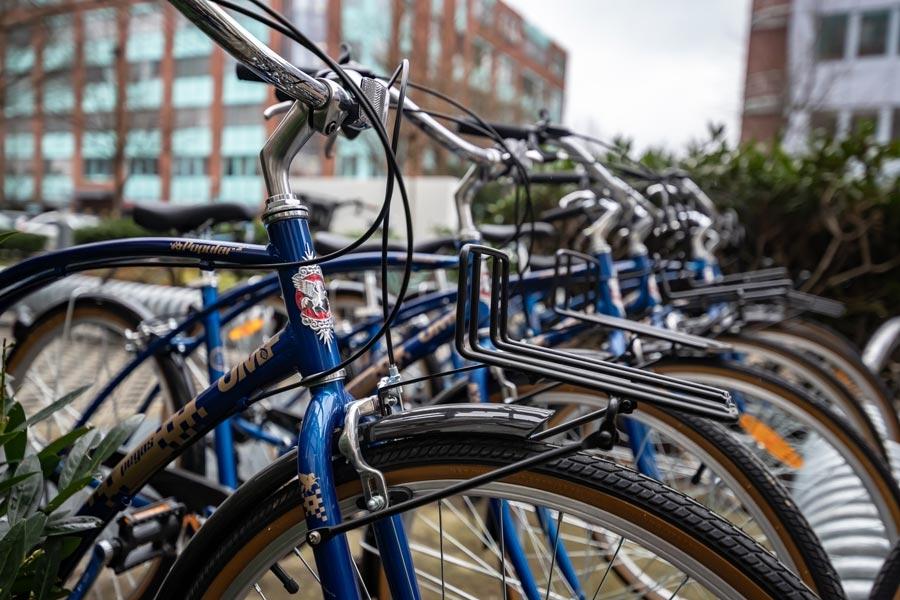 Free UMCH / UMFST rental bikes in front of UMCH building in Hamburg