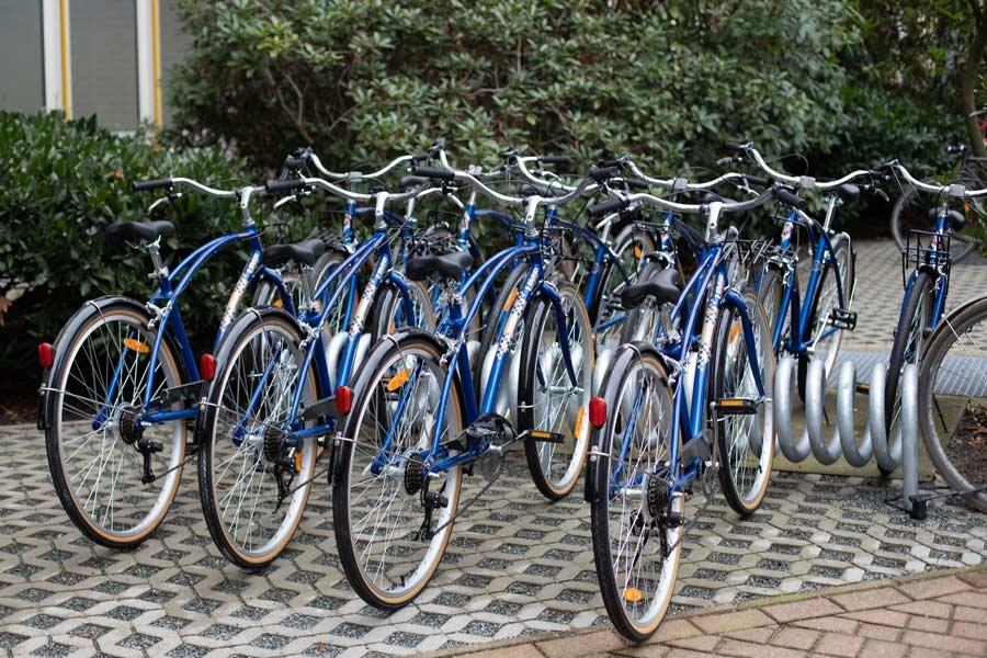 Free UMCH / UMFST rental bikes on bicycle stand