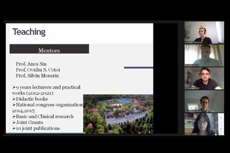 """Am 10.05. fand unter der Leitung des UMCH-Dozenten Prof. Vartolomei ein Webinar mit dem Titel """"How to build a solid research career"""" für die Studierenden des UMCH statt."""